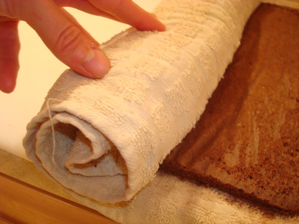 Rolling the Cake in a Towel