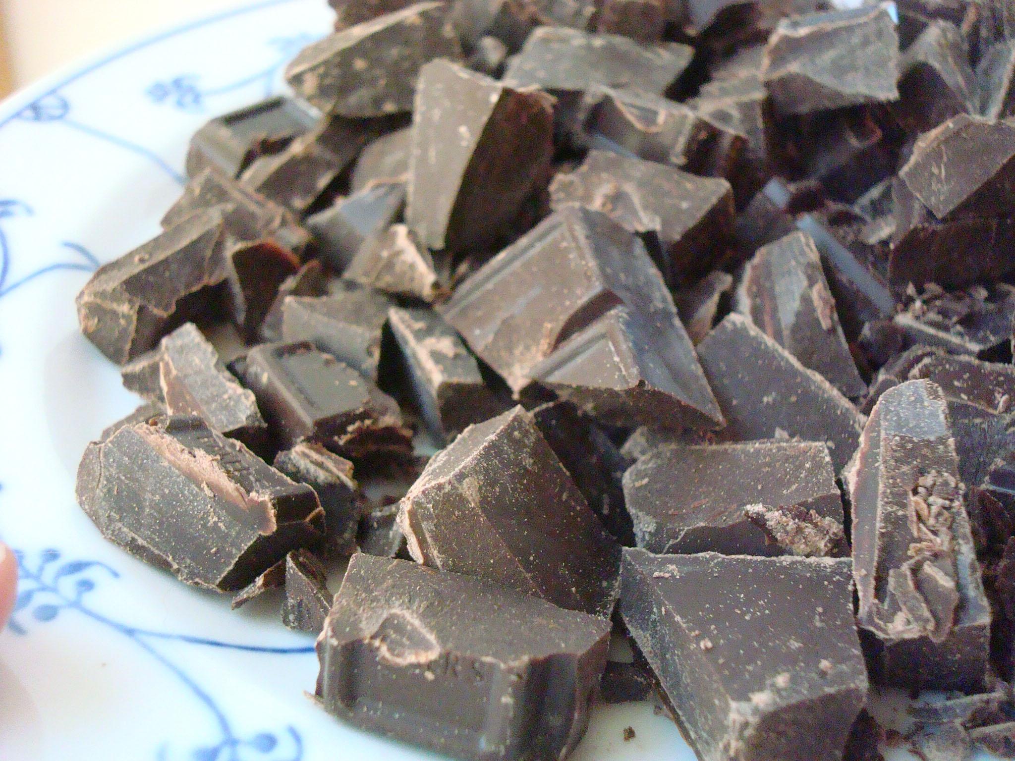 Chunks of Chocolate for Yule Log Cake
