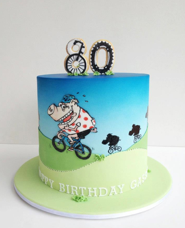 Cake Illustrated with Bicycling Pig