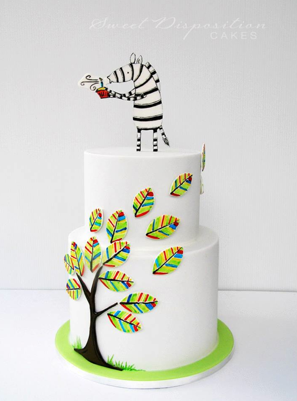 Illustrated Zebra Topping Cake with Illustrated Leaves