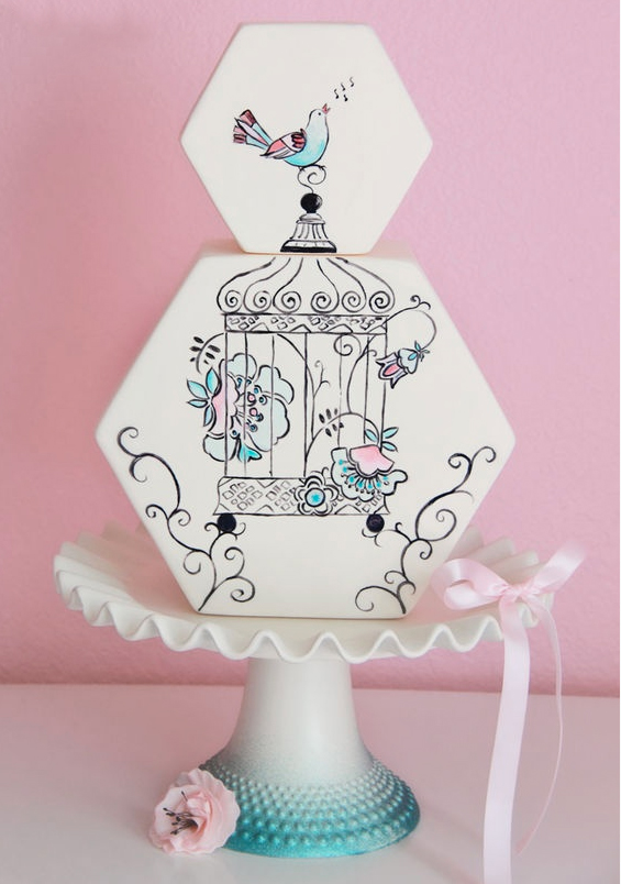Vintage-Themed Cake with Bird Cage and Birds
