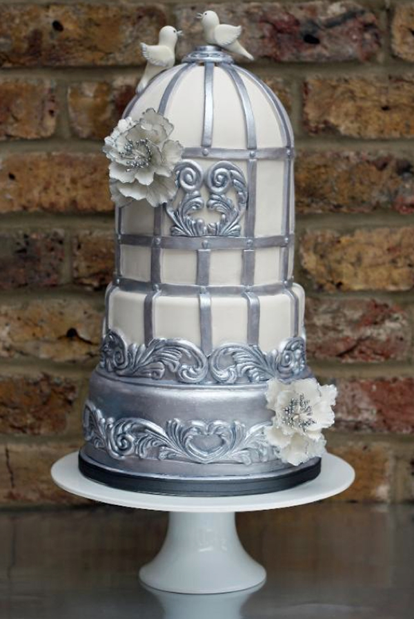 White and Silver Sugar Flower Cake