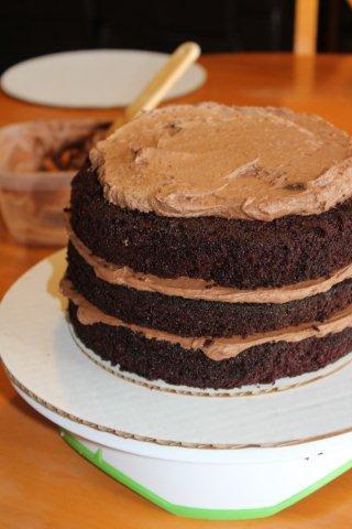 Icing a Layered Chocolate Cake