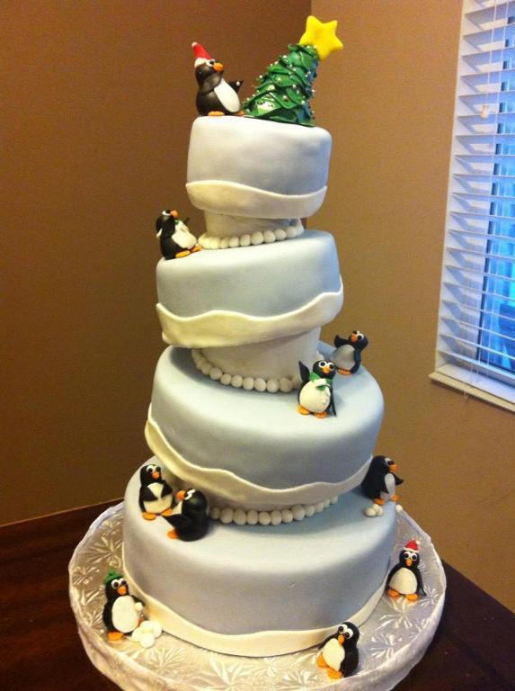 Topsy Turvy Penguin Christmas Cake