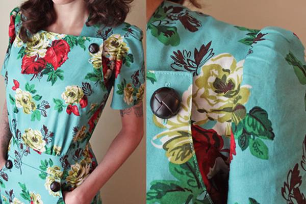 Woman Modeling Colorful Vintage Dress