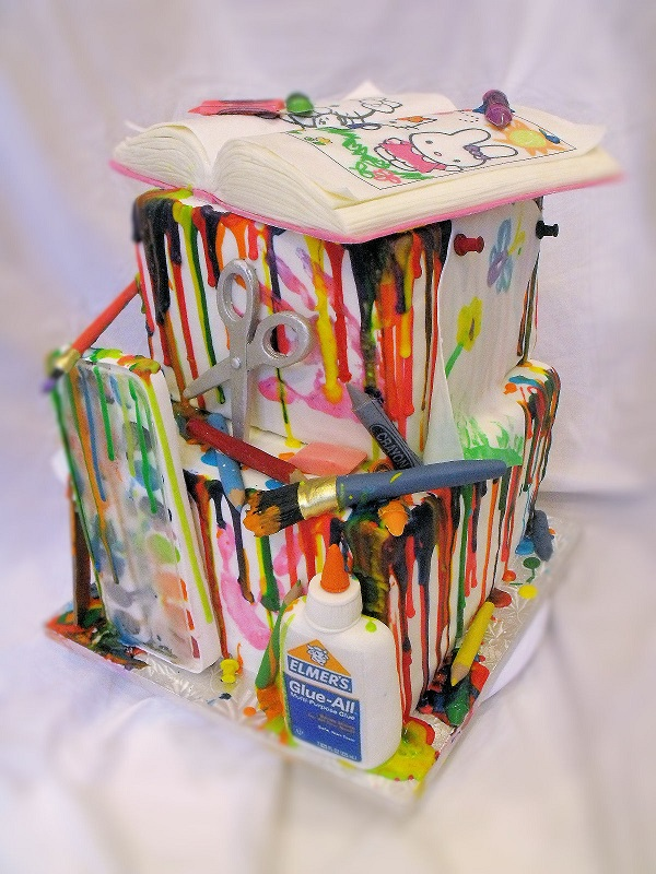 Fun, Colorful Arts and Crafts Cake