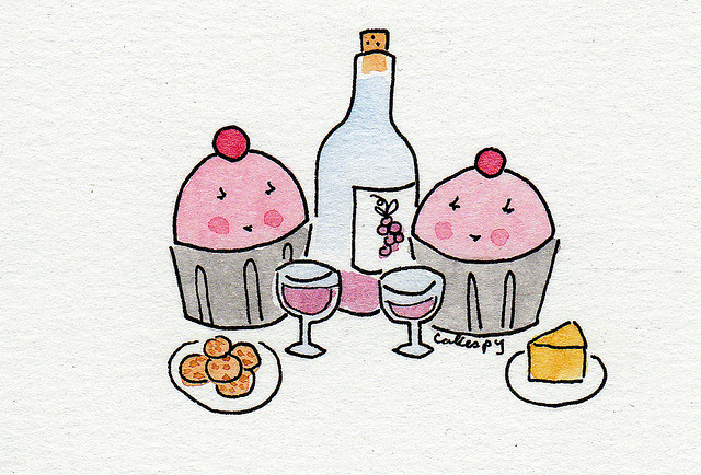Cartoon of Cupcakes Wining and Dining