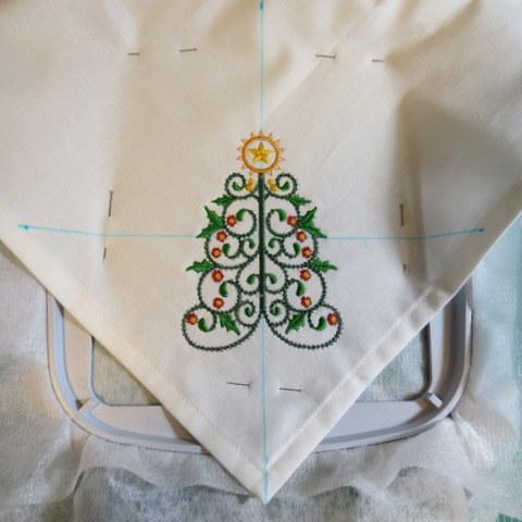 Stitching Christmas Tree Design in Napkin