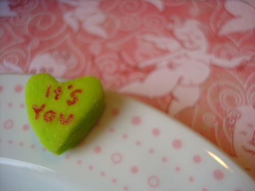 "Green Candy Heart that Says, ""It's You"""