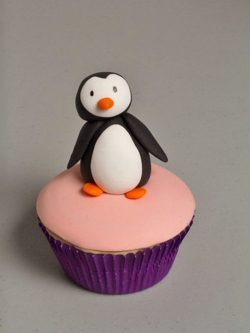 Cute Leaning Penguin Cupcake Topper