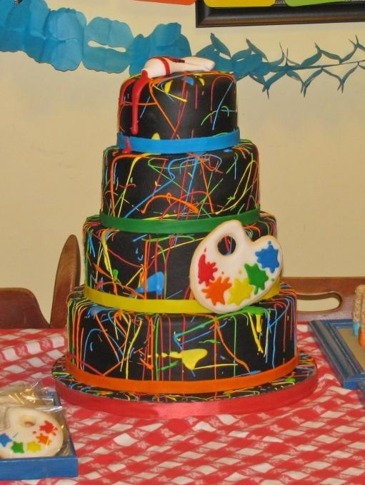 Tiered Cake with Artful Paint Decoration