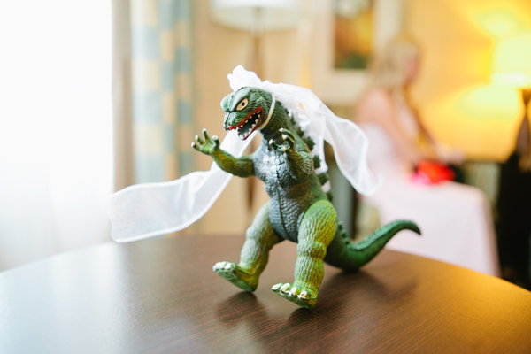 Toy Godzilla Dressed as Bride