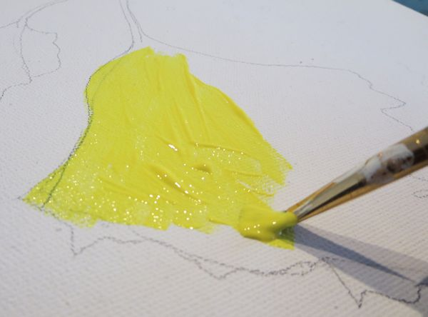 painting yellow leaves - start of Gouache resist