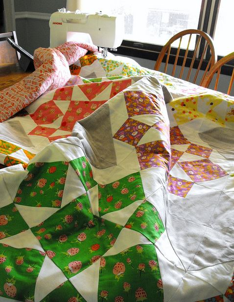 Sewing Machine and Quilt on Table