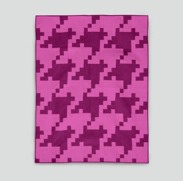 Pink Pixelated Houndstooth Quilt