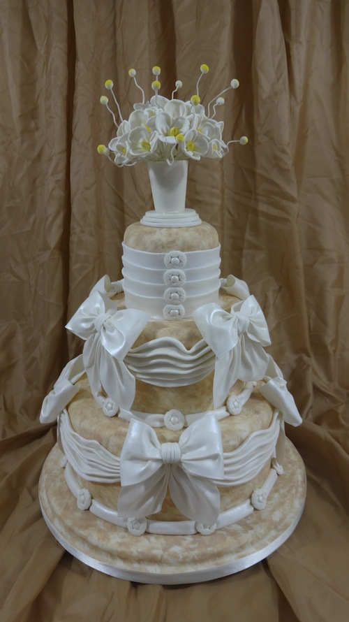 Cake Topped with Vase of Wired Sugar Flowers - Bluprint.com