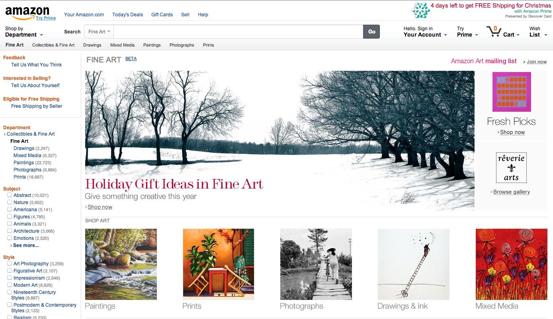 Amazon Fine Art Online Storefront