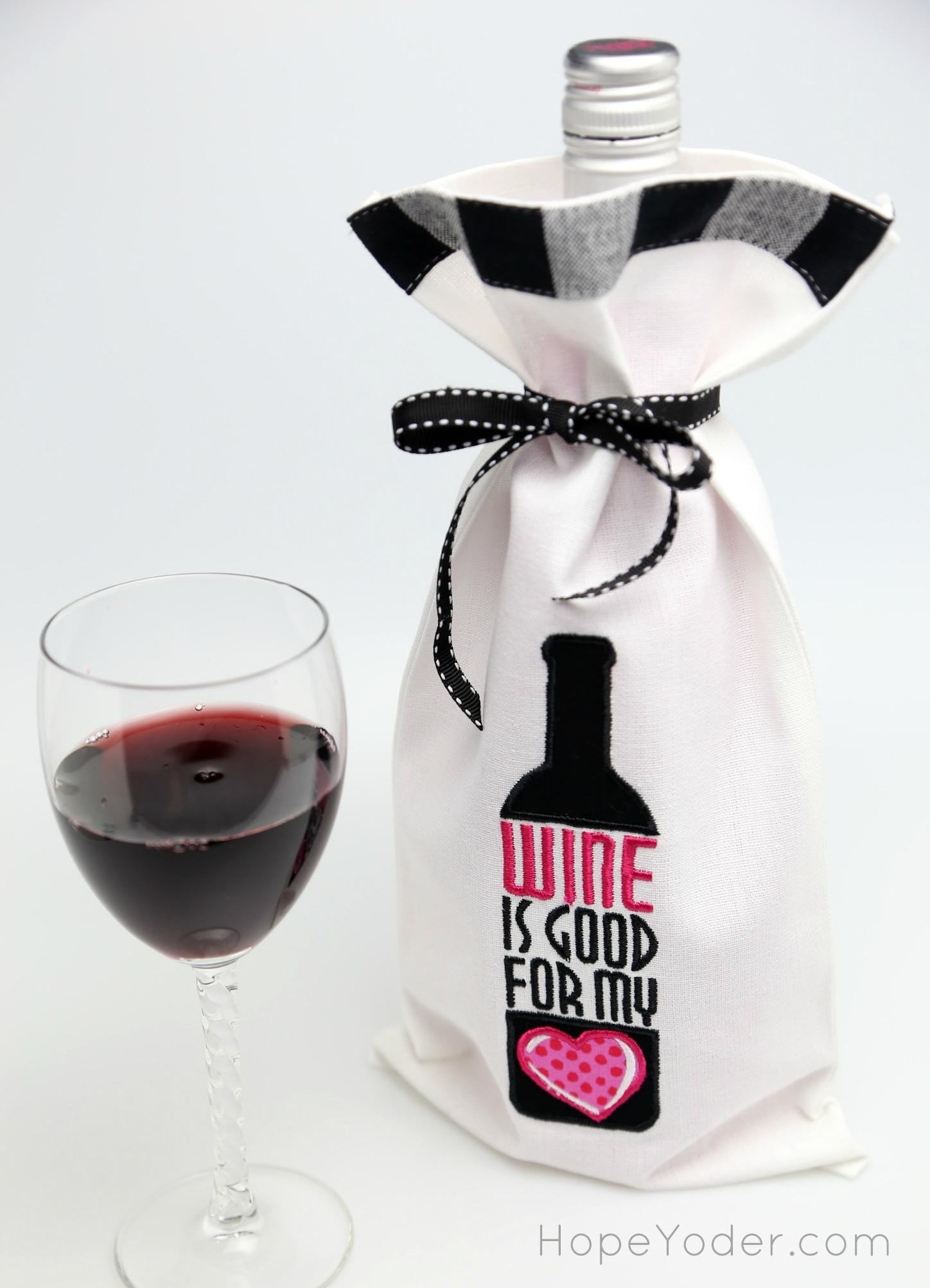Machine Applique: Embroidered Wine Bag