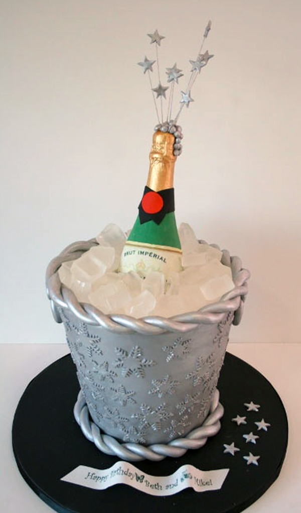 Cake Shaped Like Champagne Bucket with Open Champagne