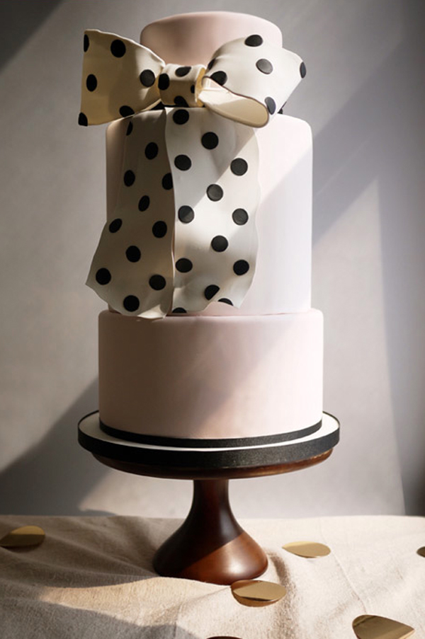 Tiered Cake with Large Polka Dot Bow