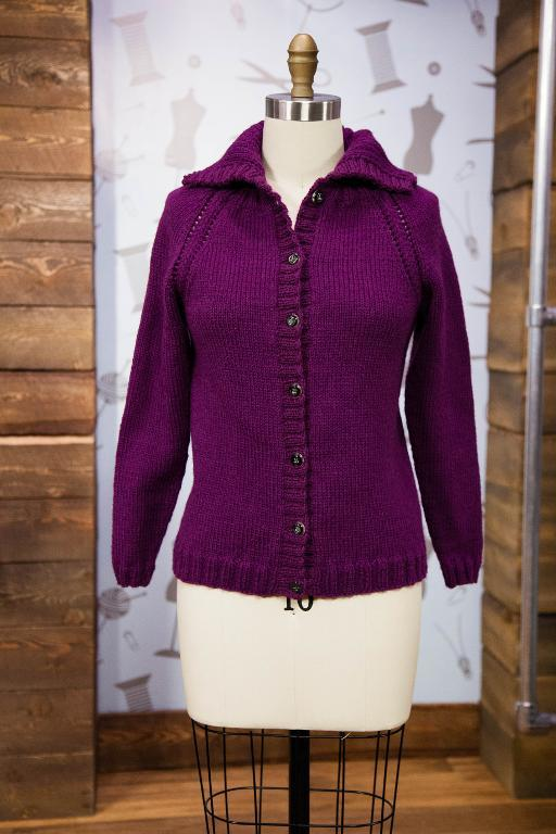 Purple Sweater Cardigan on Mannequin