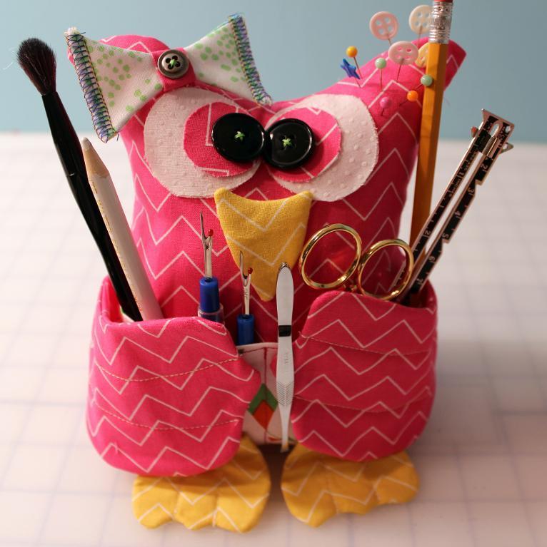 Owl Sewing Tools Holder - Free Pattern on Bluprint