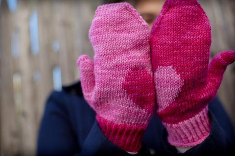 Knitted Heart Mittens