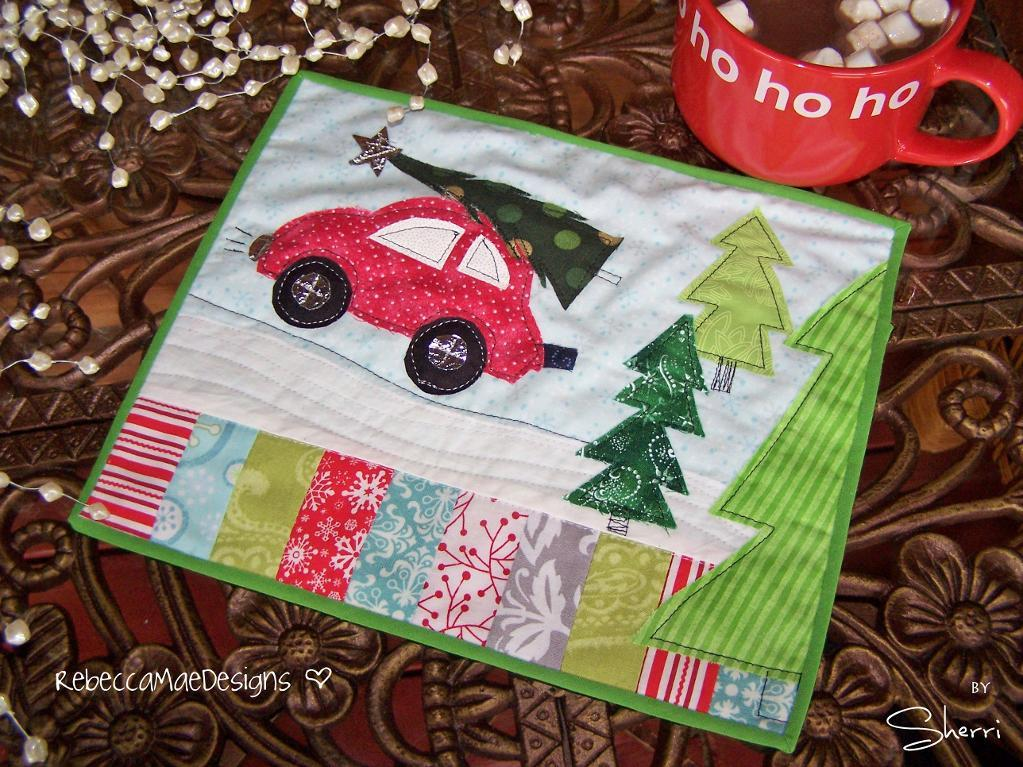 Holiday Tree Expedition Mug Rug