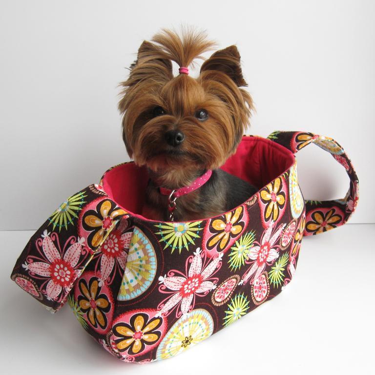 Dog in Little Sewn Dog Bag - craftsy.com