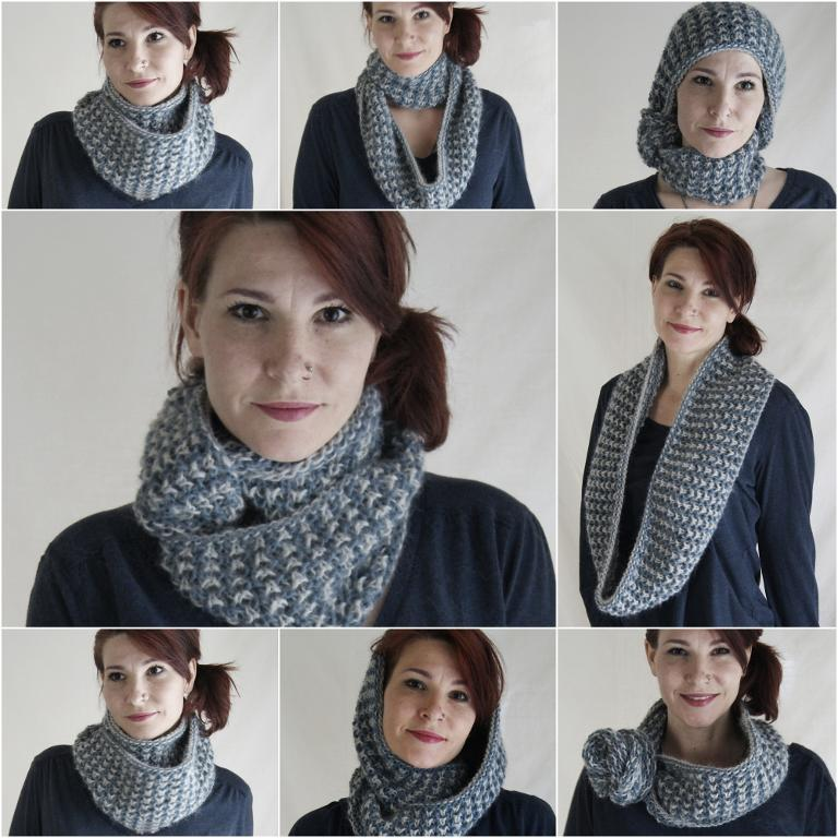 Knitted Two-Color Cowl