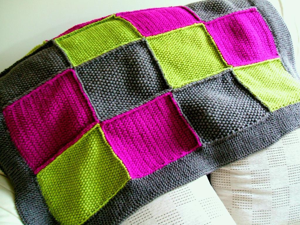 Patchwork knit blanket