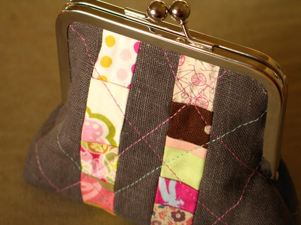 Striped Quilted Coin Purse