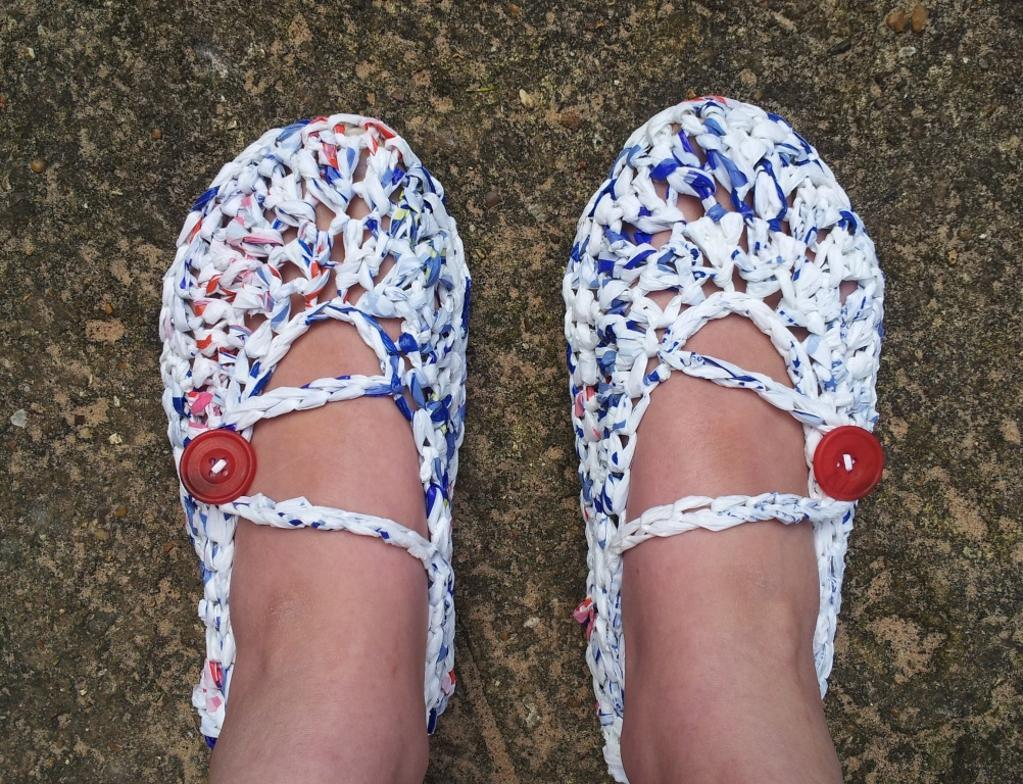 Shoes Crocheted with Plarn