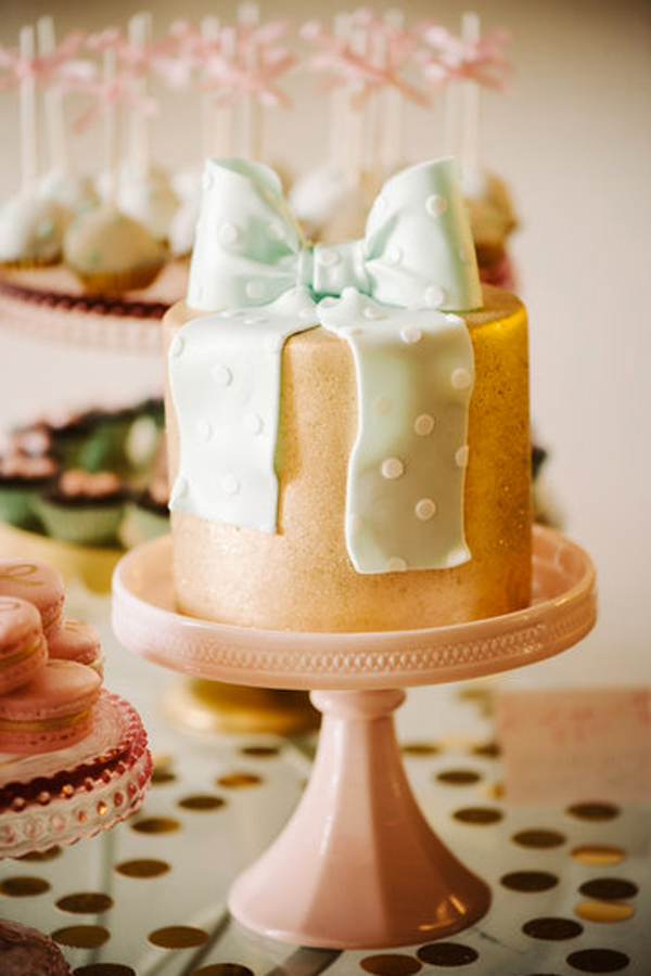 Gold Cake with Green Polka Dot Bow