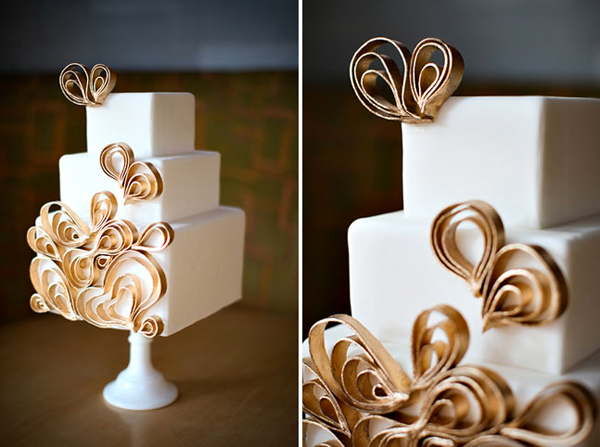 Cake Featuring Ornate Gold Ribbon