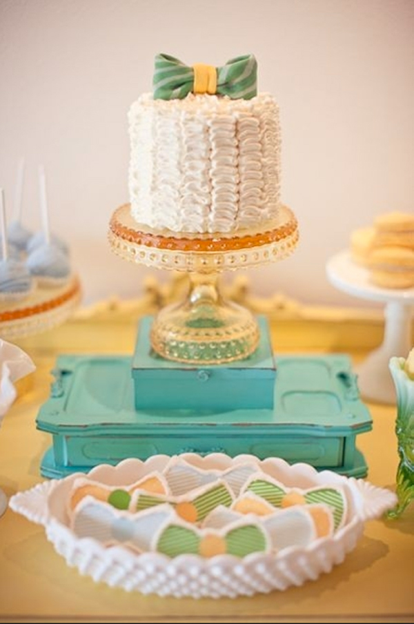 Ruffled Cake with Green Striped Bow