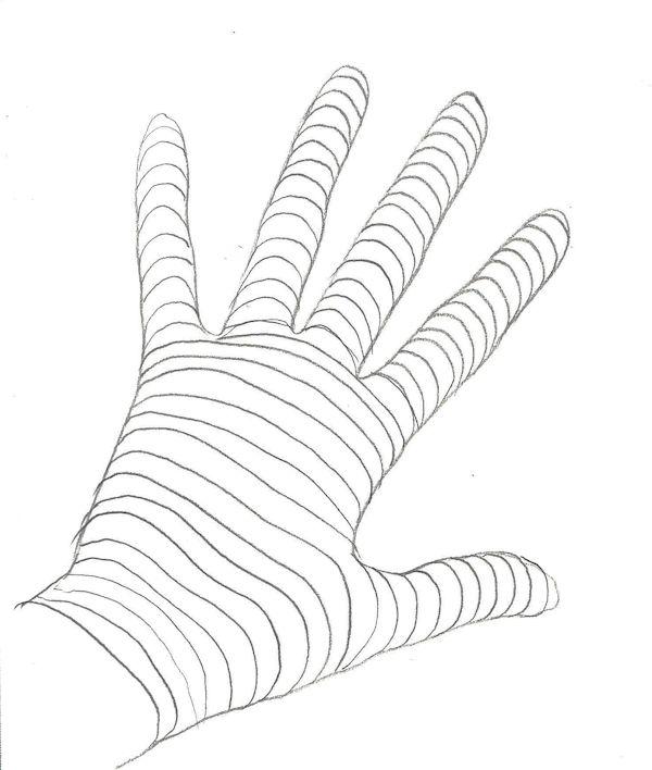 hand cross contour drawing