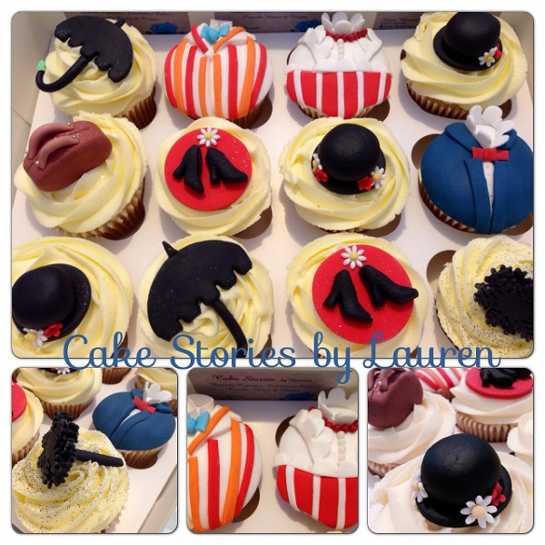 Cupcakes with Fondant Mary Poppins Toppers