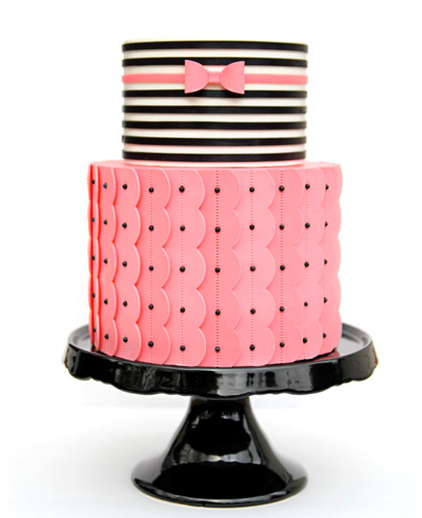 Tiered Cake with Pink Bottom and Striped Top