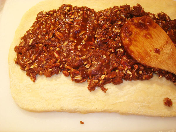 Spreading the Pecan Mixture into the Dough - Jelly Roll