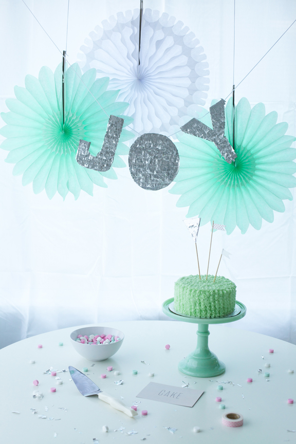 Green Cake with NYE Decorations