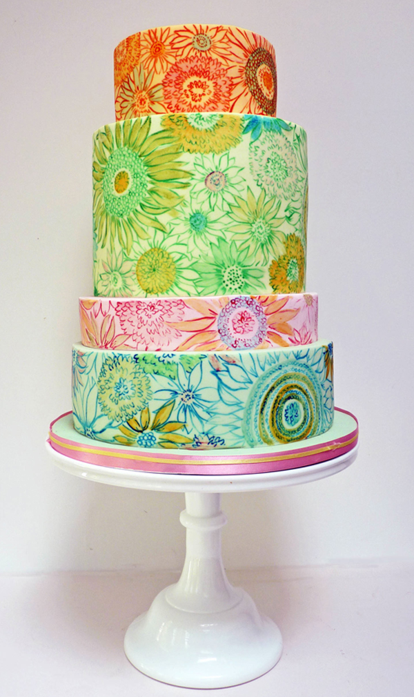 Tiered Cake Painted with Bright Van Gogh-esque Flowers