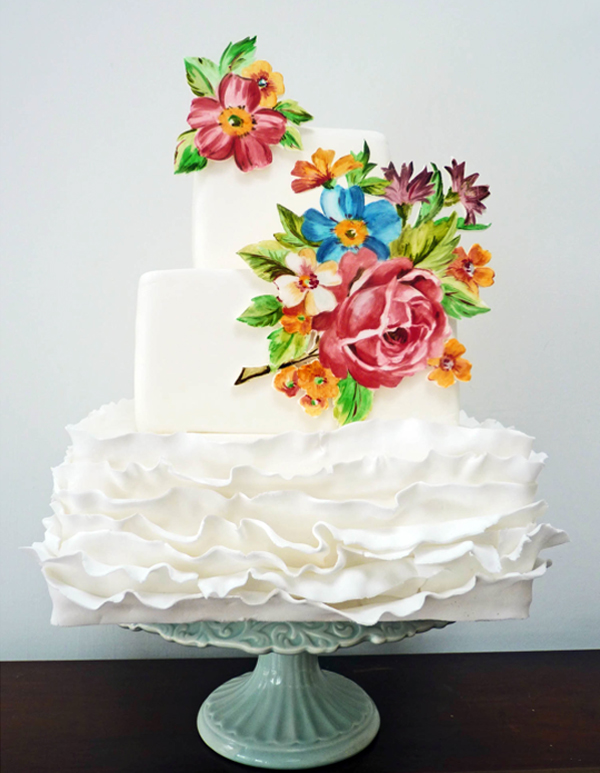 Brightly Colored Painted Flowers on Tiered White Cake