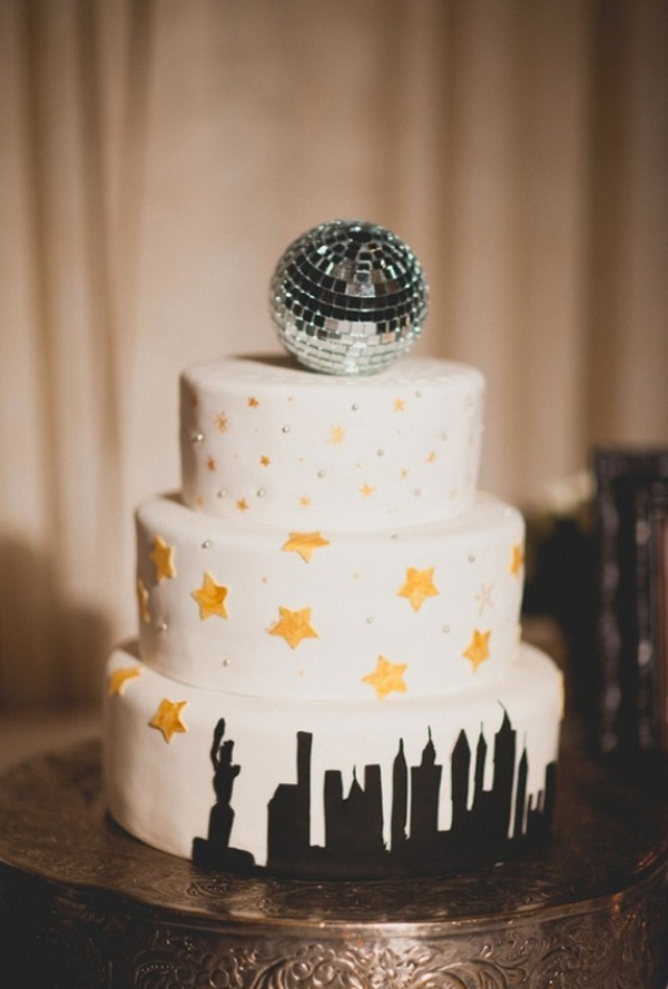 New York, New York Cake Topped with Disco Ball
