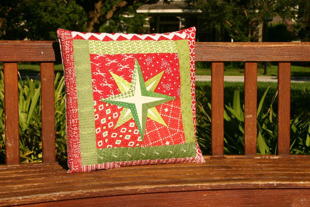 Quilted Pillow Featuring Holiday Star