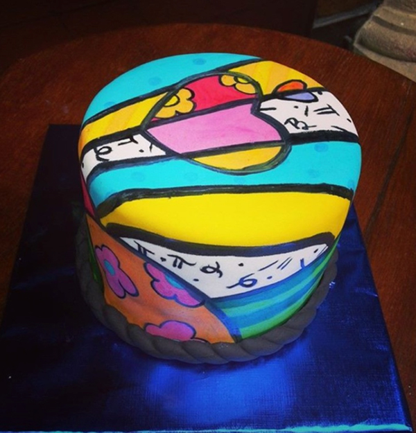 Brightly Colored Painted Cake