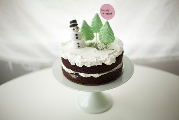 Winter Cake Topped with Fondant Snowman