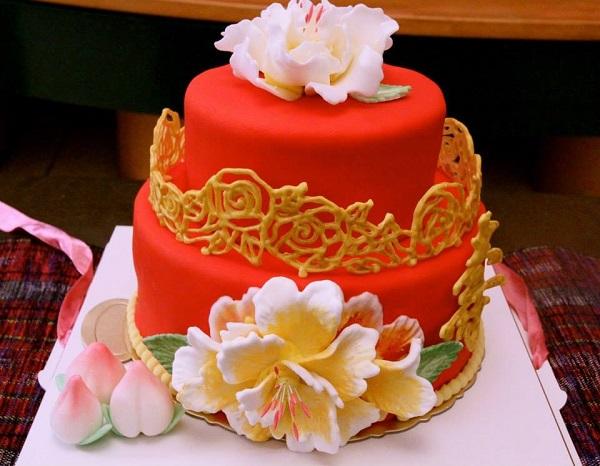 Layered Red New Years Cake