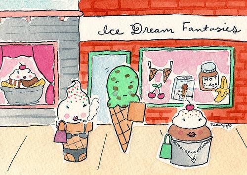 Cartoon of Ice Cream Sundaes
