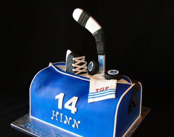 Sculpted Hockey Bag Cake